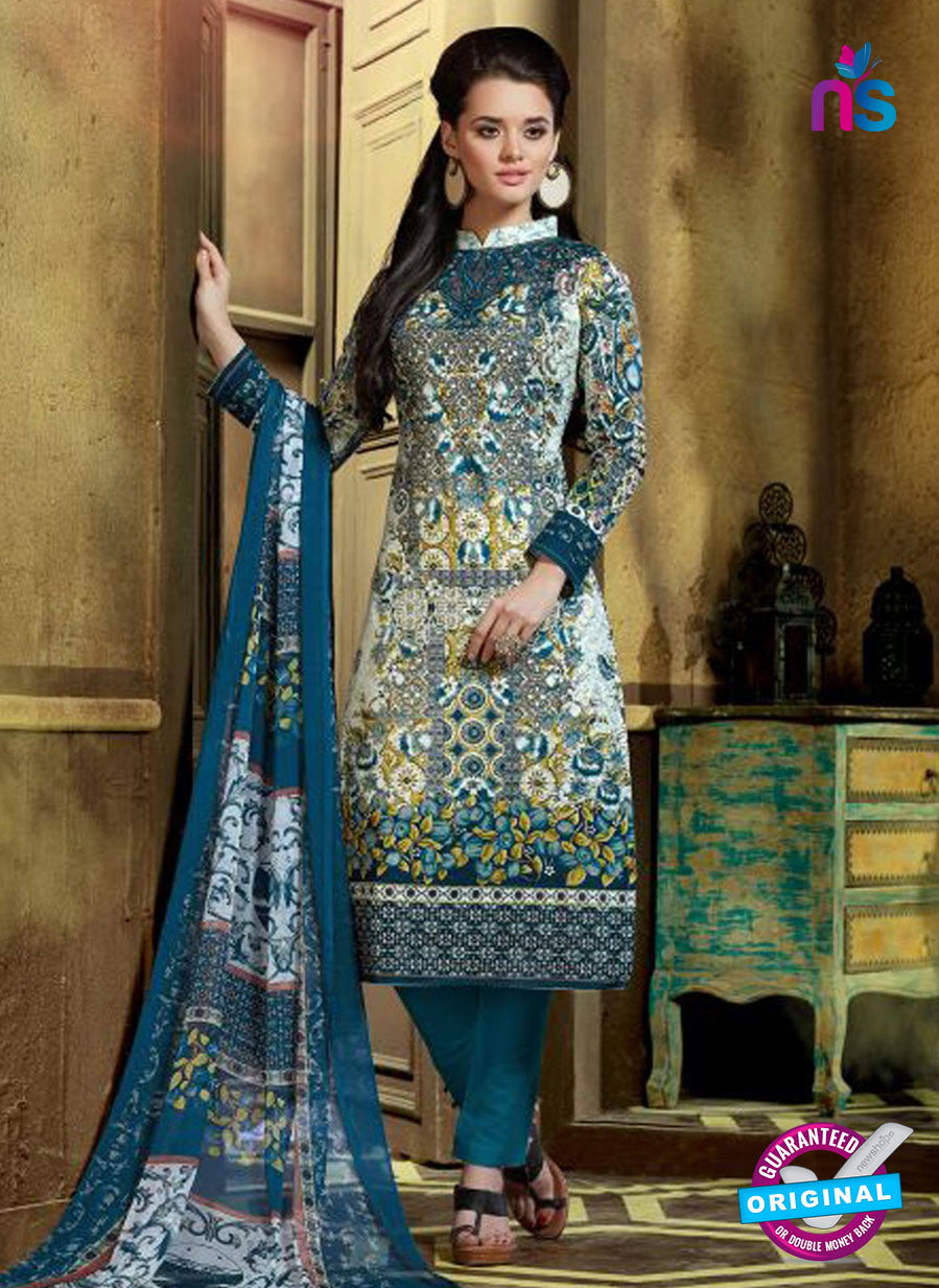 SC 12763 Multicolor and Blue Printed Pure Cambric Pakistani Straight Suit