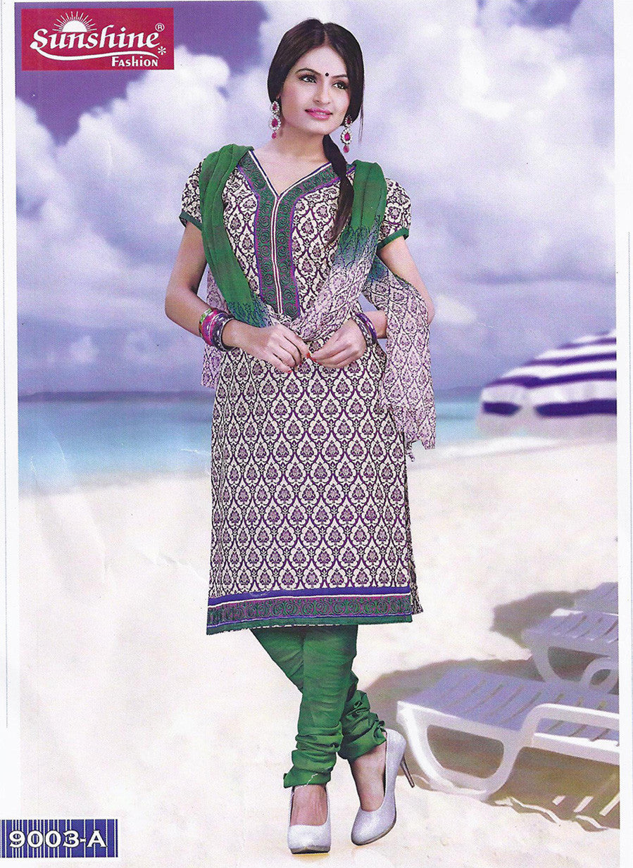 Sunshine 9003 A  Green Color Cotton Designer Suit
