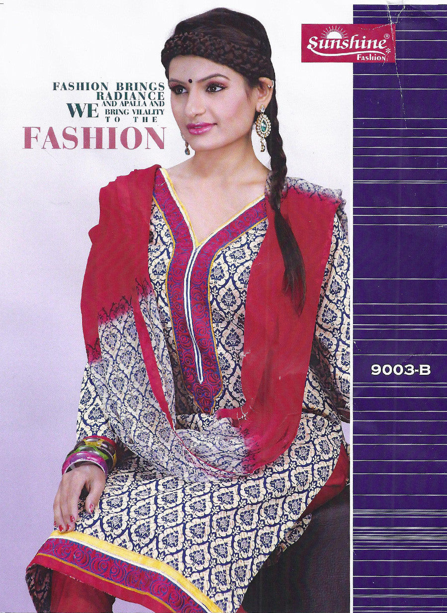 Sunshine 9003 B  Red Color Cotton Designer Suit