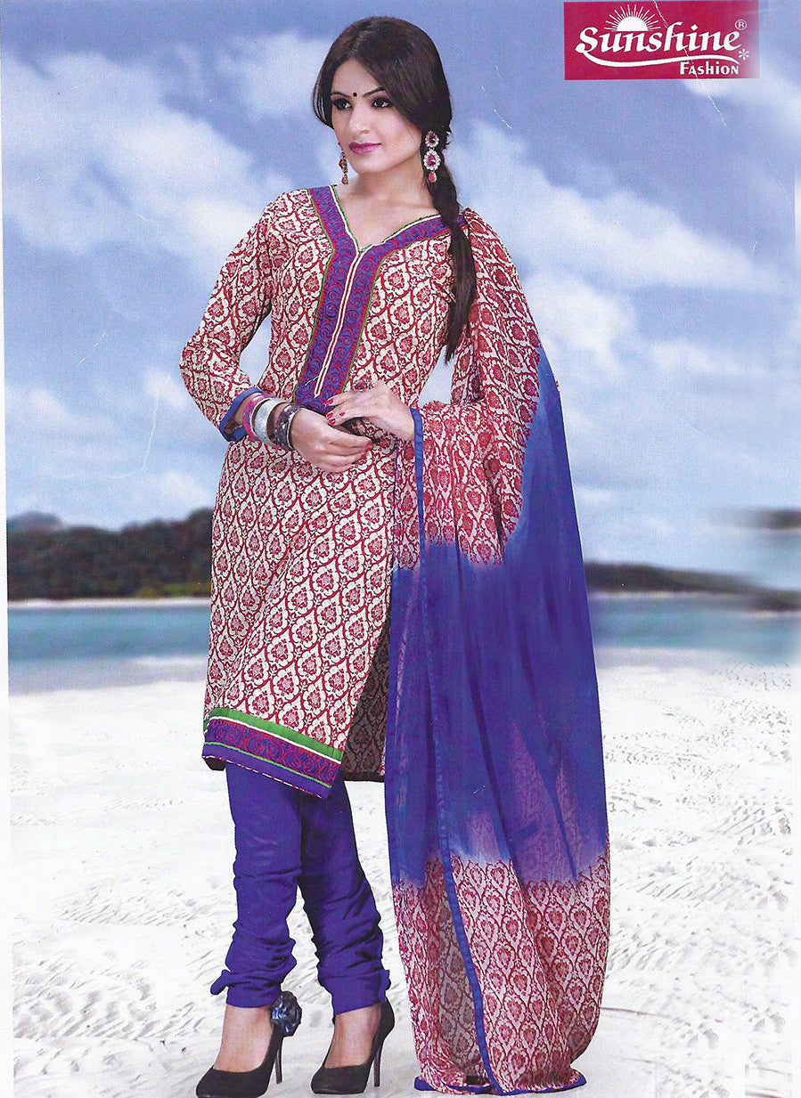 Sunshine 9003 D  Purple Color Cotton Designer Suit