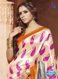 NS11818  Beige and Orange Bhagalpuri Silk Saree