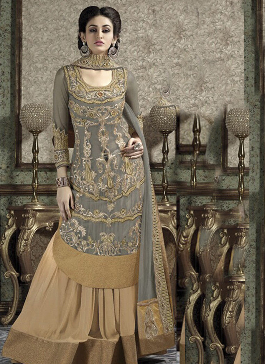 NS10653  Grey Color Banarasi Georgette Designer Lehenga