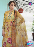 NS11073 B Yellow Party Wear Cotton Satin Pakistani Style Indian Suit