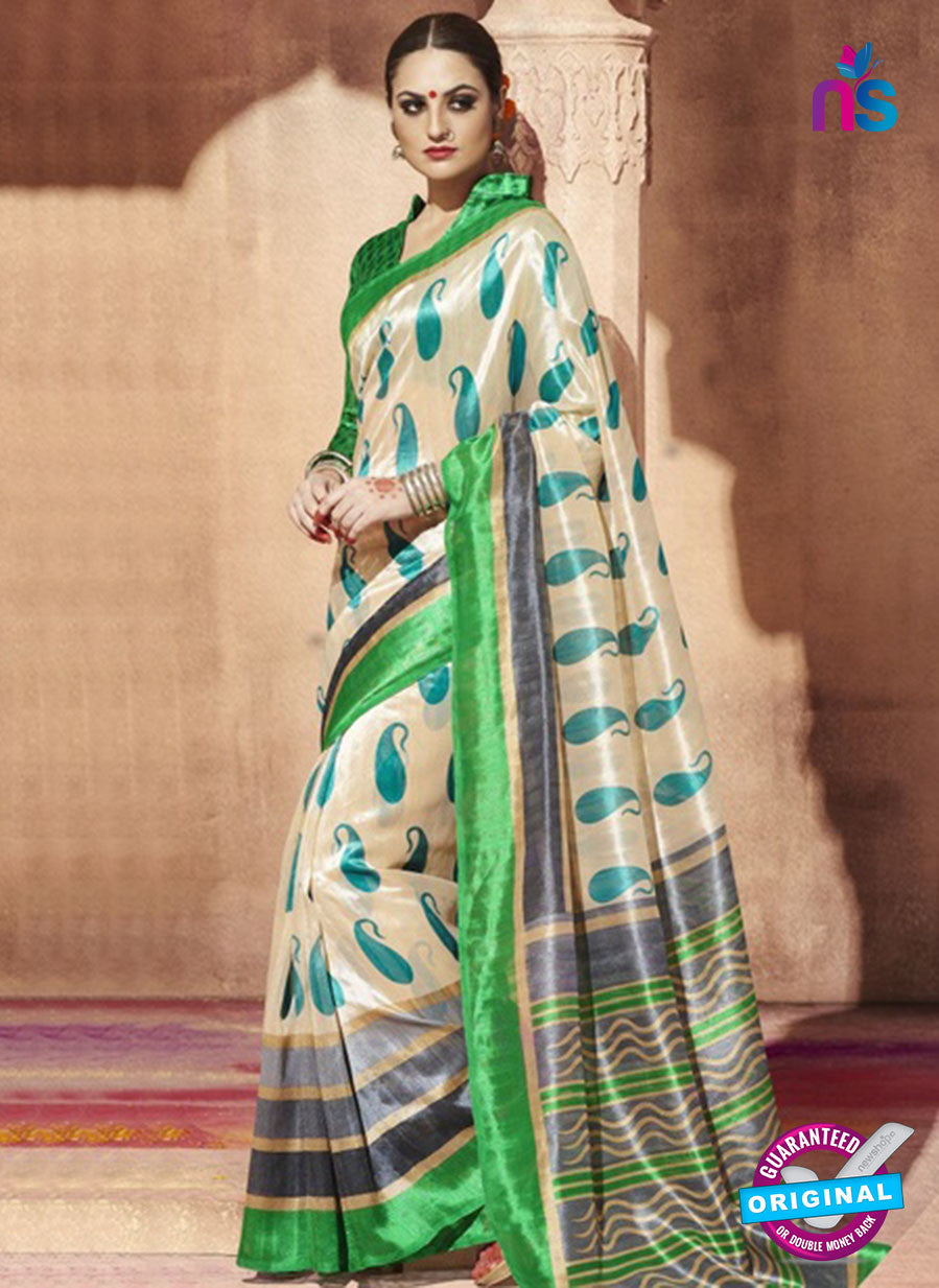NS11819  Beige and Green Bhagalpuri Silk Saree