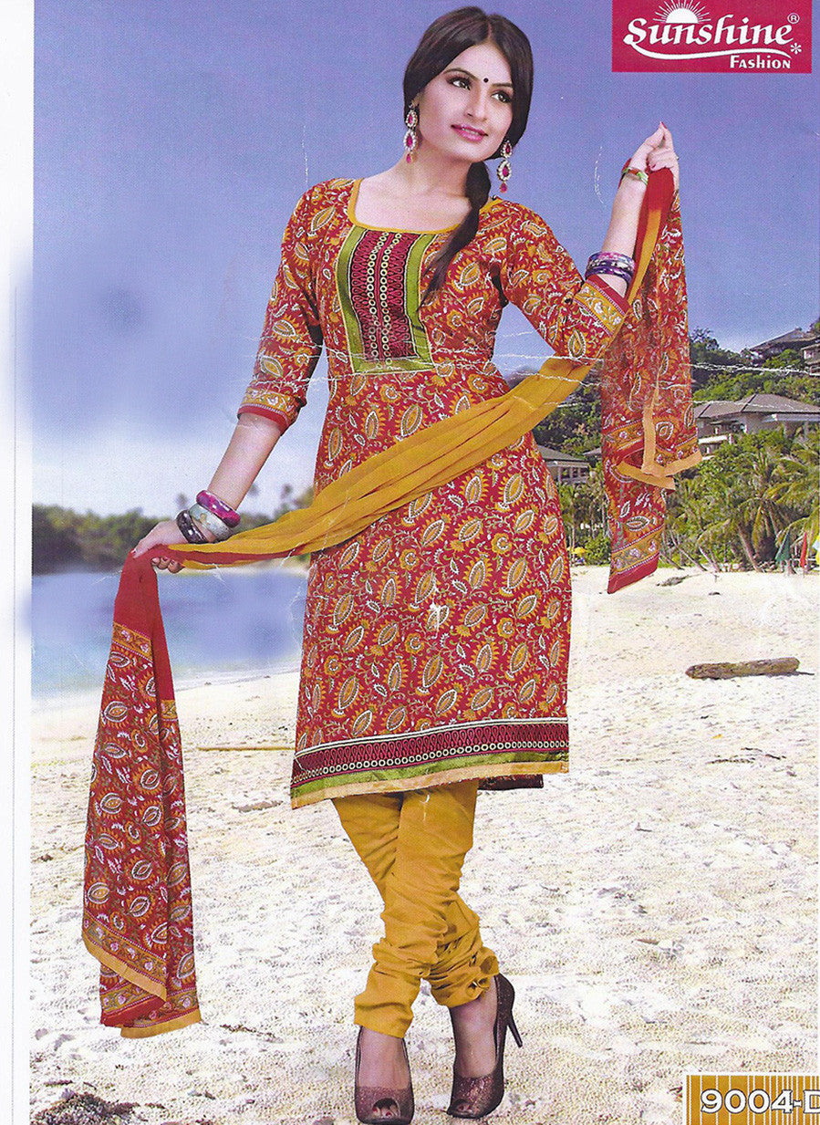 Sunshine 9004 D  Yellow Color Cotton Designer Suit