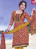 Sunshine 9004 D Red and Yellow Color Cotton Designer Suit