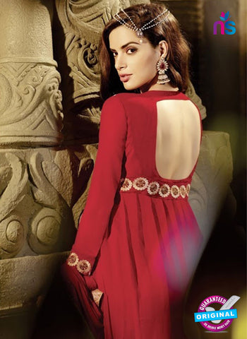 AZ 2035 Red Embroidered Heavy Georgette Anarkali Suit - Anarkali Suits - NEW SHOP