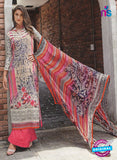NS11074 A Off White and Sky Blue Party Wear Cotton Satin Pakistani Style Indian Suit