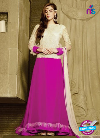 AZ 2036 Beige and Pink Embroidered Heavy Georgette Anarkali Suit
