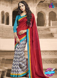 NS11820  Maroon and Aqua Blue Bhagalpuri Silk Saree
