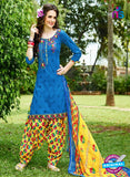 KalaKirti 9005 Blue, Yellow and Red Cotton Designer Suit