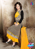 NS10312 Black and Yellow Georgette Party Wear Designer Suit Online