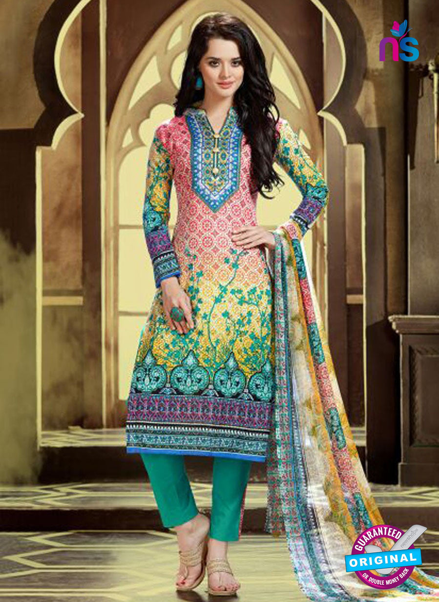 SC 12768 Multicolor and SeaGreen Printed Pure Cambric Pakistani Straight Suit