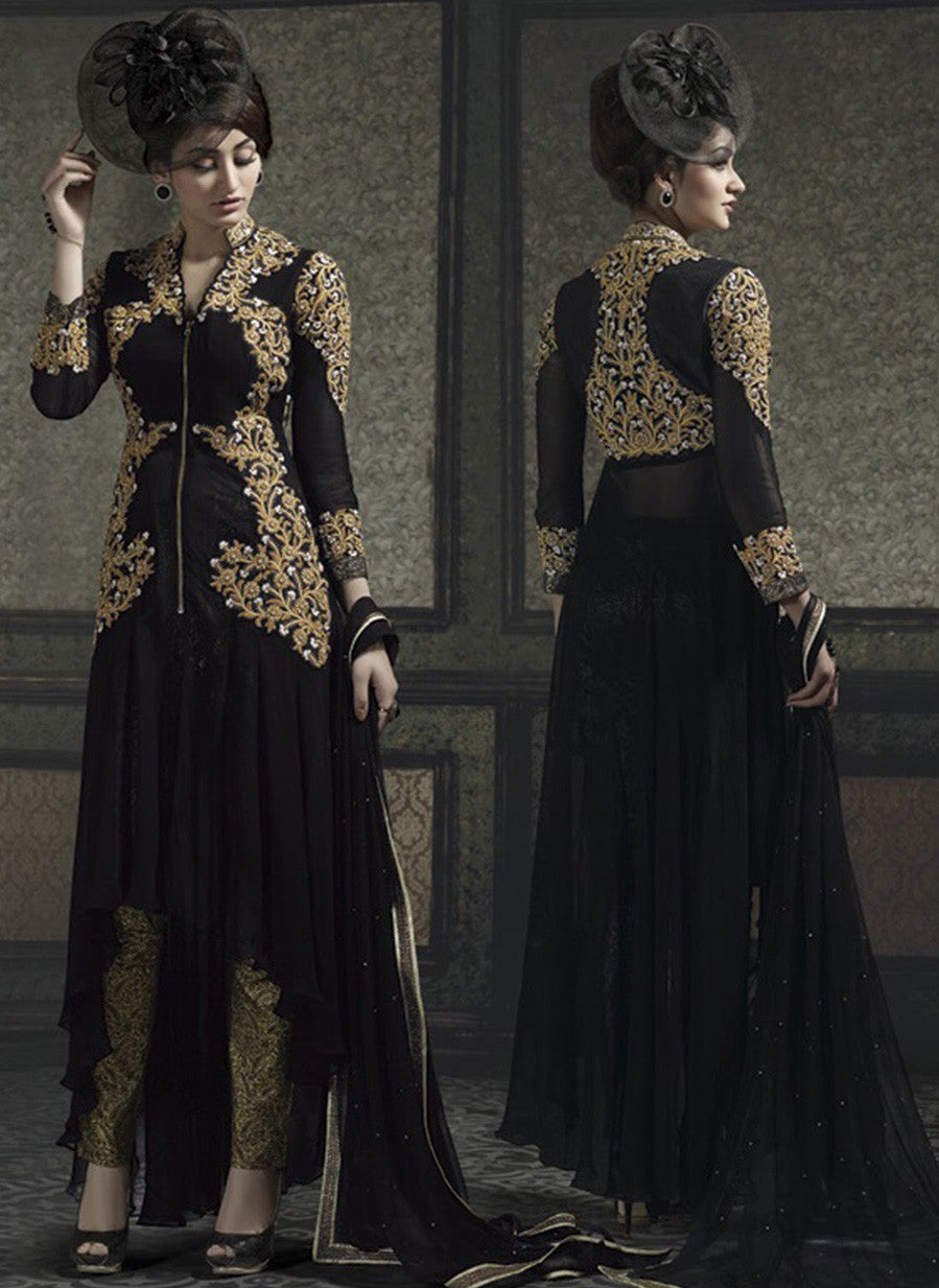 NS10655  Black Color Banarasi Georgette Designer Lehenga