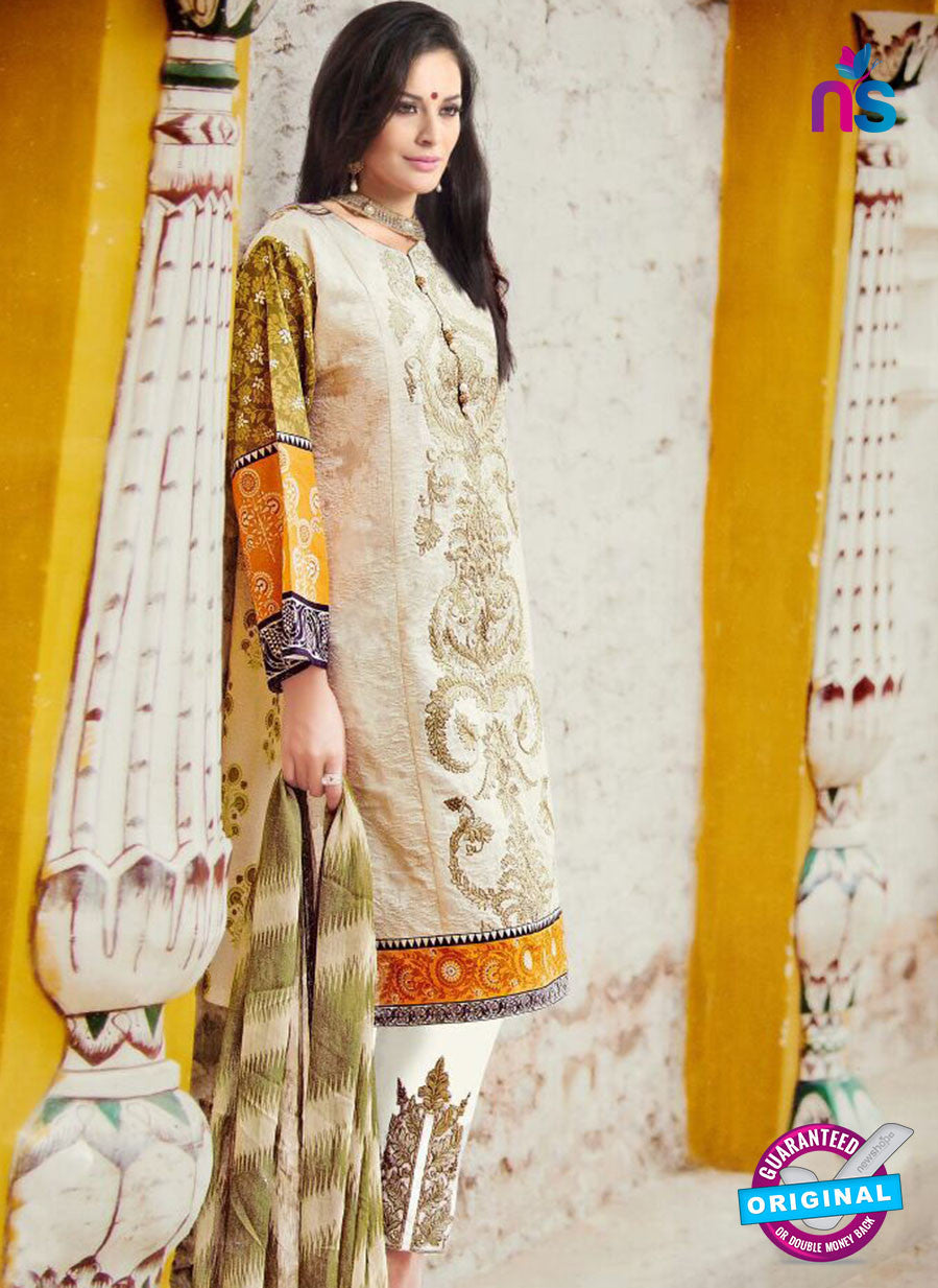 NS11098 Ivory and Yellow Pure Cotton Lawn Straight Suit