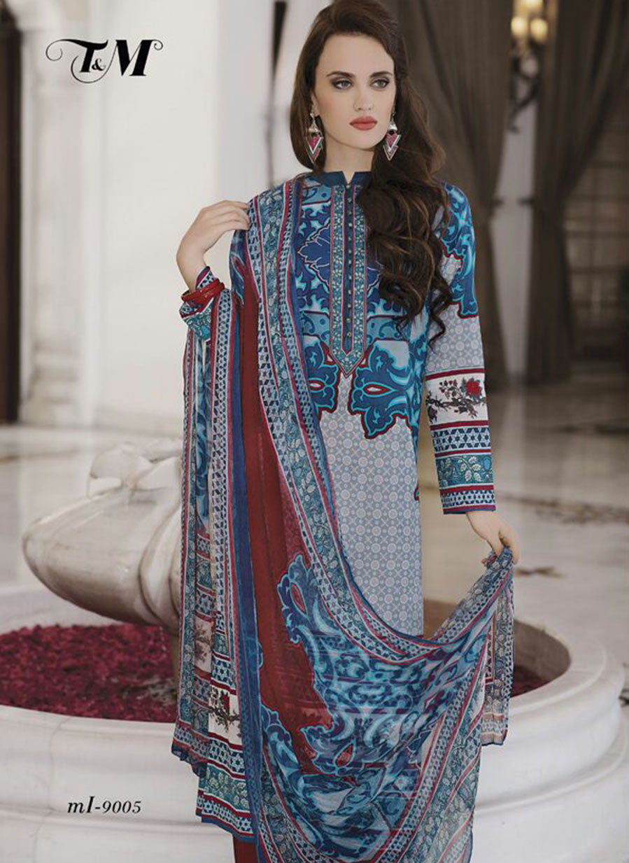 TM 9005  Multi Color Satin Cotton Designer Suit
