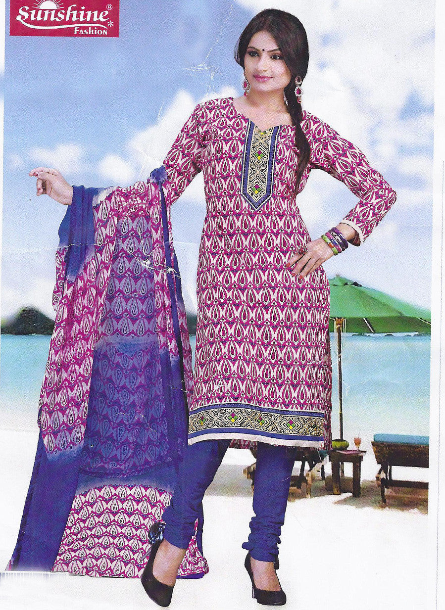 Sunshine 9005 A  Purple & Pink Color Cotton Designer Suit