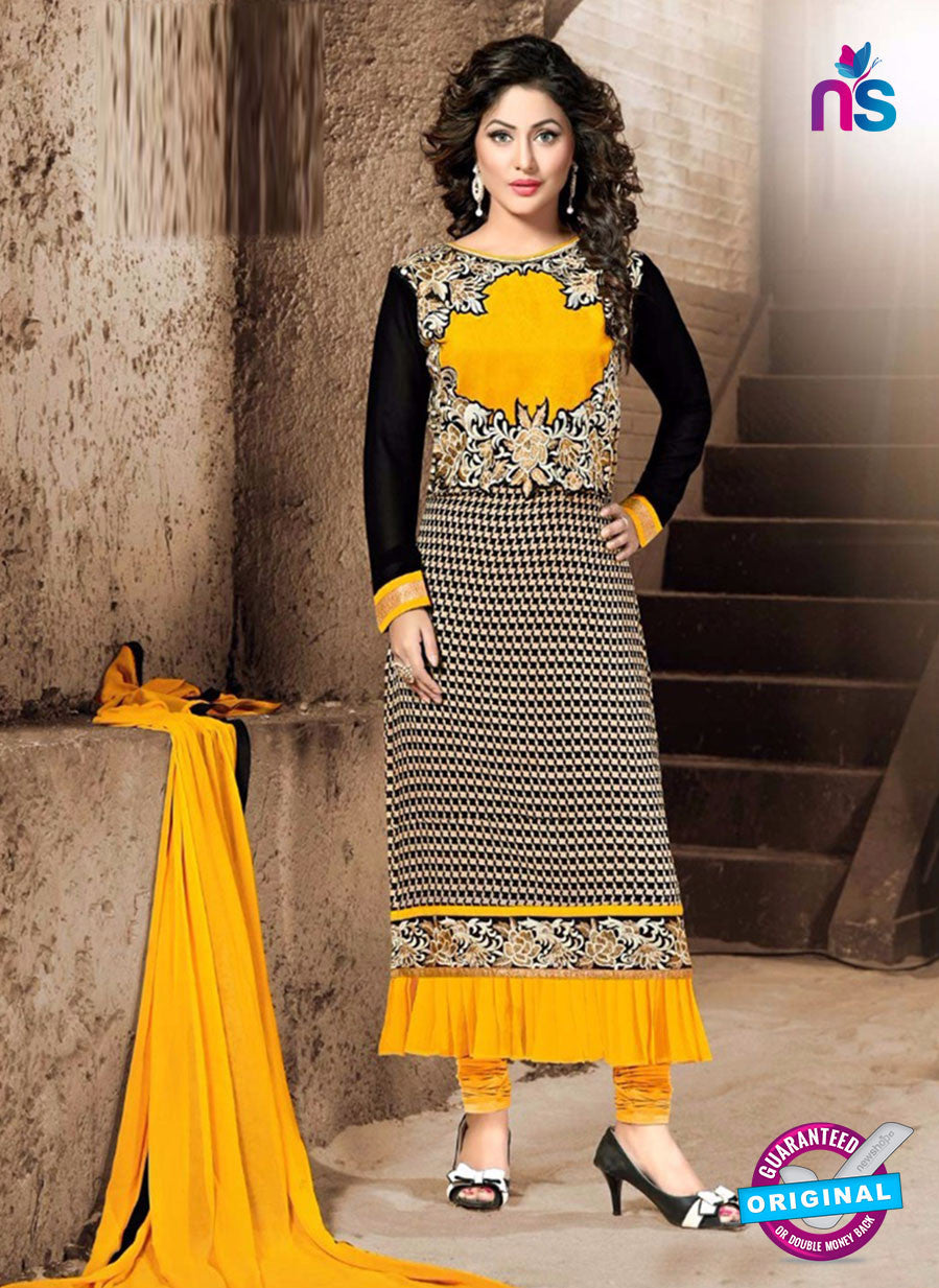 NS10312 Black and Yellow Georgette Party Wear Designer Suit