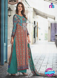 NS11075 B Red and Multicolor Party Wear Cotton Satin Pakistani Style Indian Suit