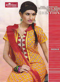 Sunshine 9006 B  Yellow & Red Color Cotton Designer Suit