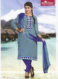 Sunshine 9006 D  Purple & Blue Color Cotton Designer Suit