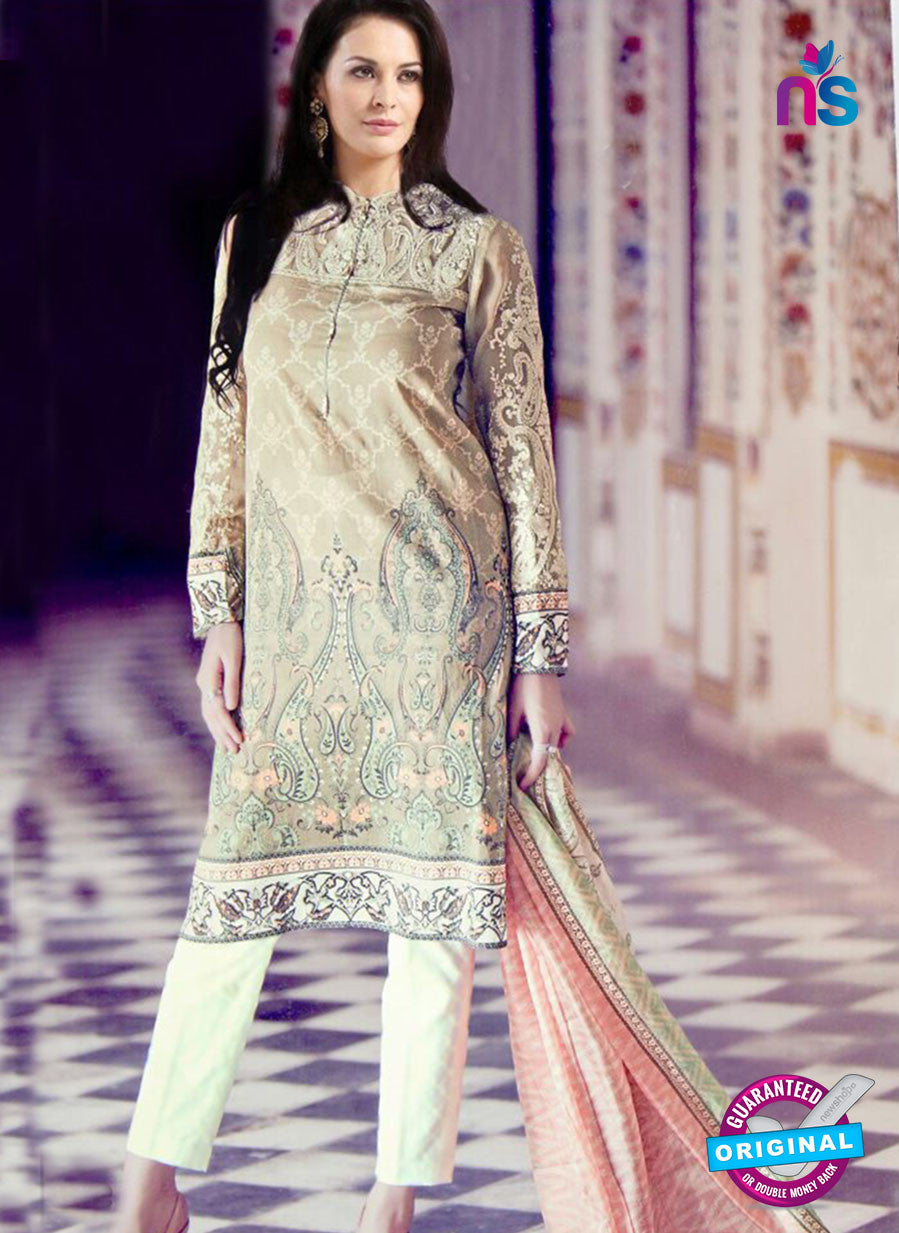 NS11099 Beige and White Pure Cotton Lawn Straight Suit