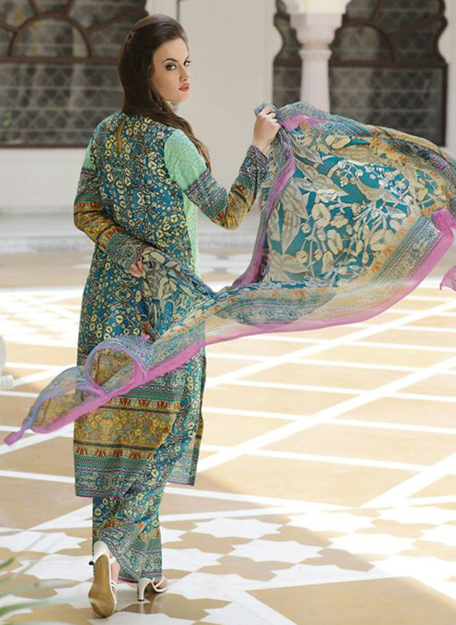 TM 9007  Multi Color Satin Cotton Designer Suit