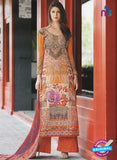 NS11076 B Orange and Multicolor Party Wear Cotton Satin Pakistani Style Indian Suit Online