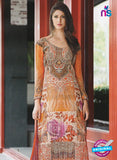 NS11076 B Orange and Multicolor Party Wear Cotton Satin Pakistani Style Indian Suit