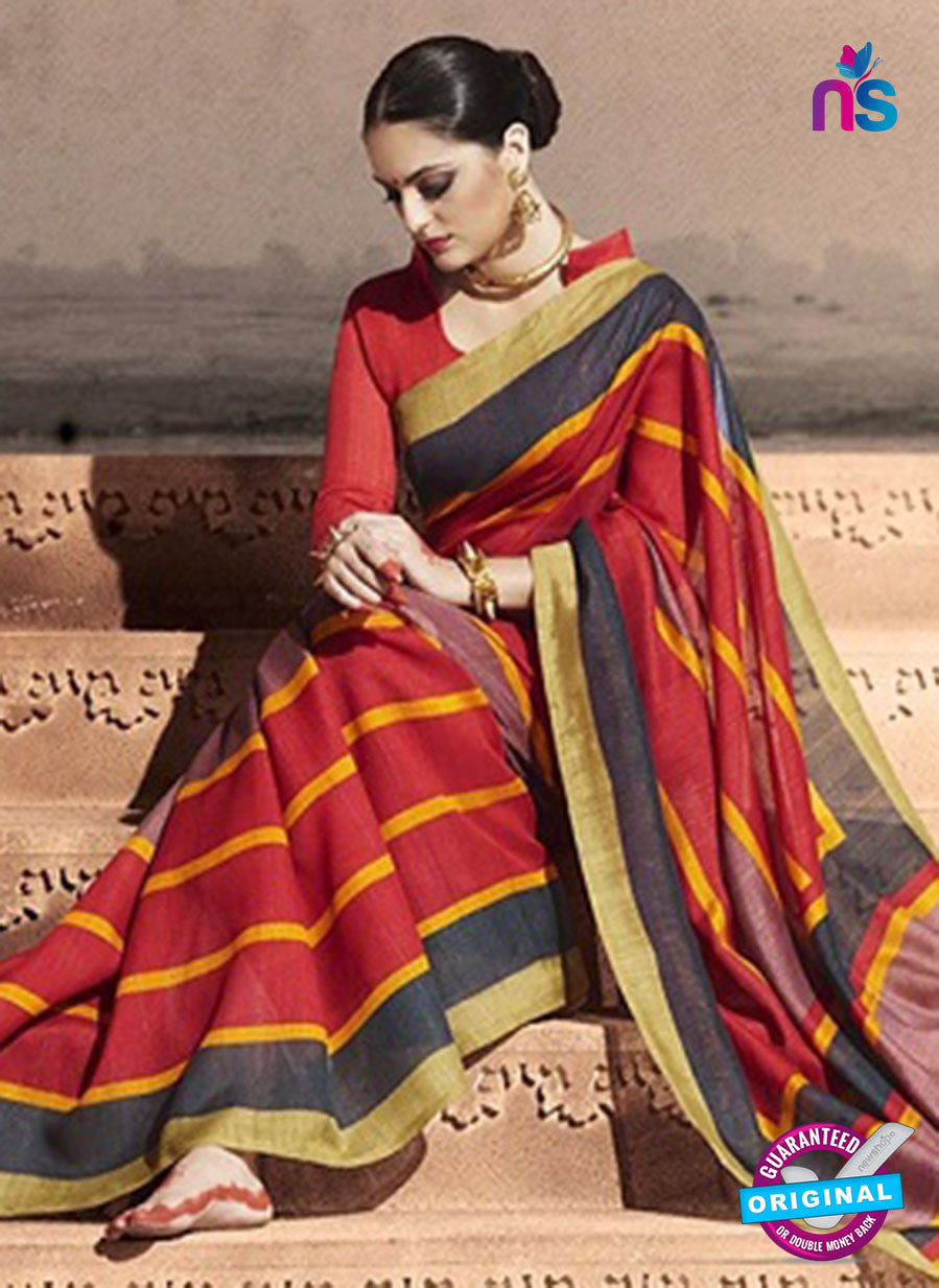 NS11822  Dark Red and Black Bhagalpuri Silk Saree