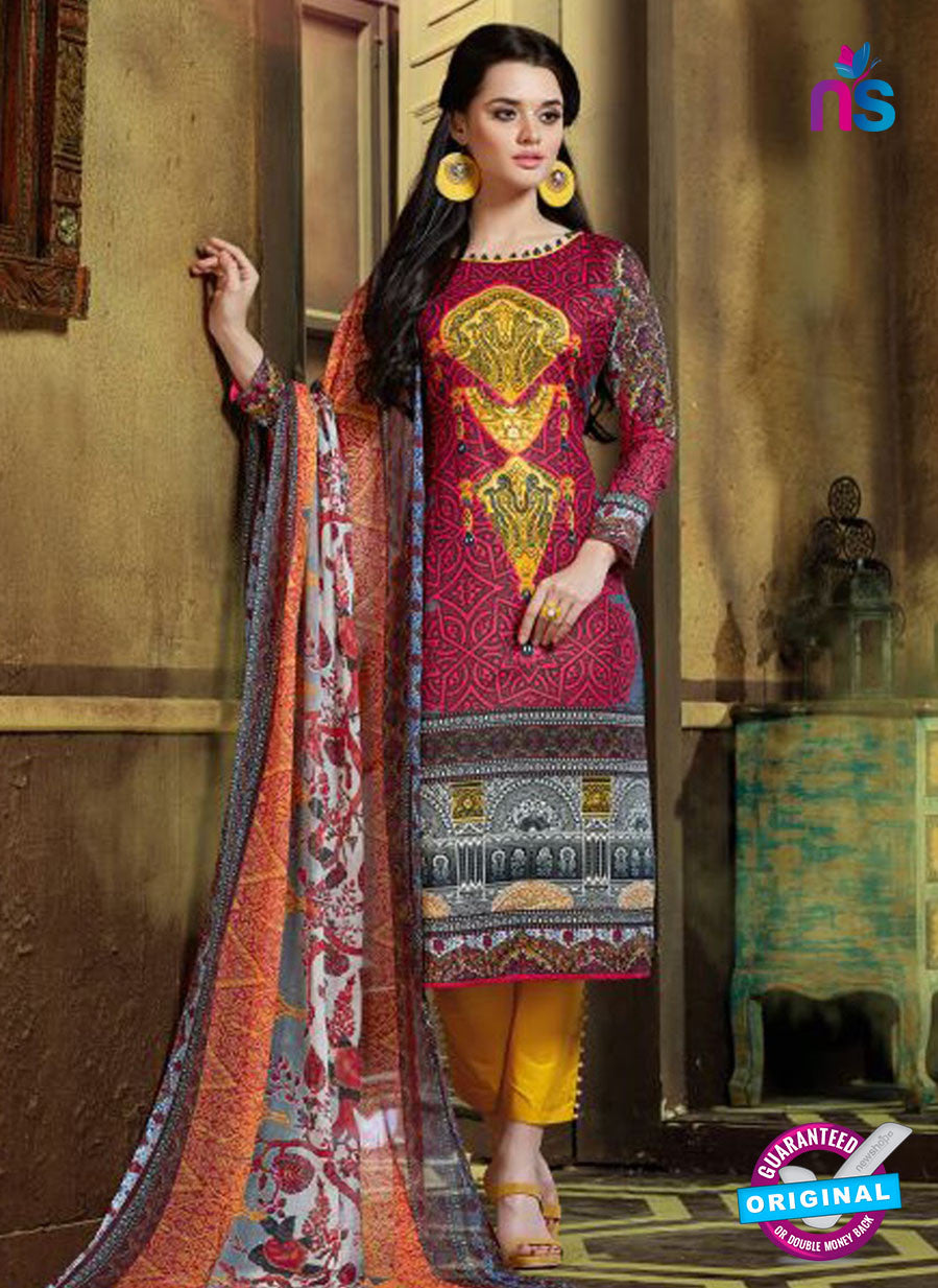 SC 12762 Multicolor and Yellow Printed Pure Cambric Pakistani Straight Suit
