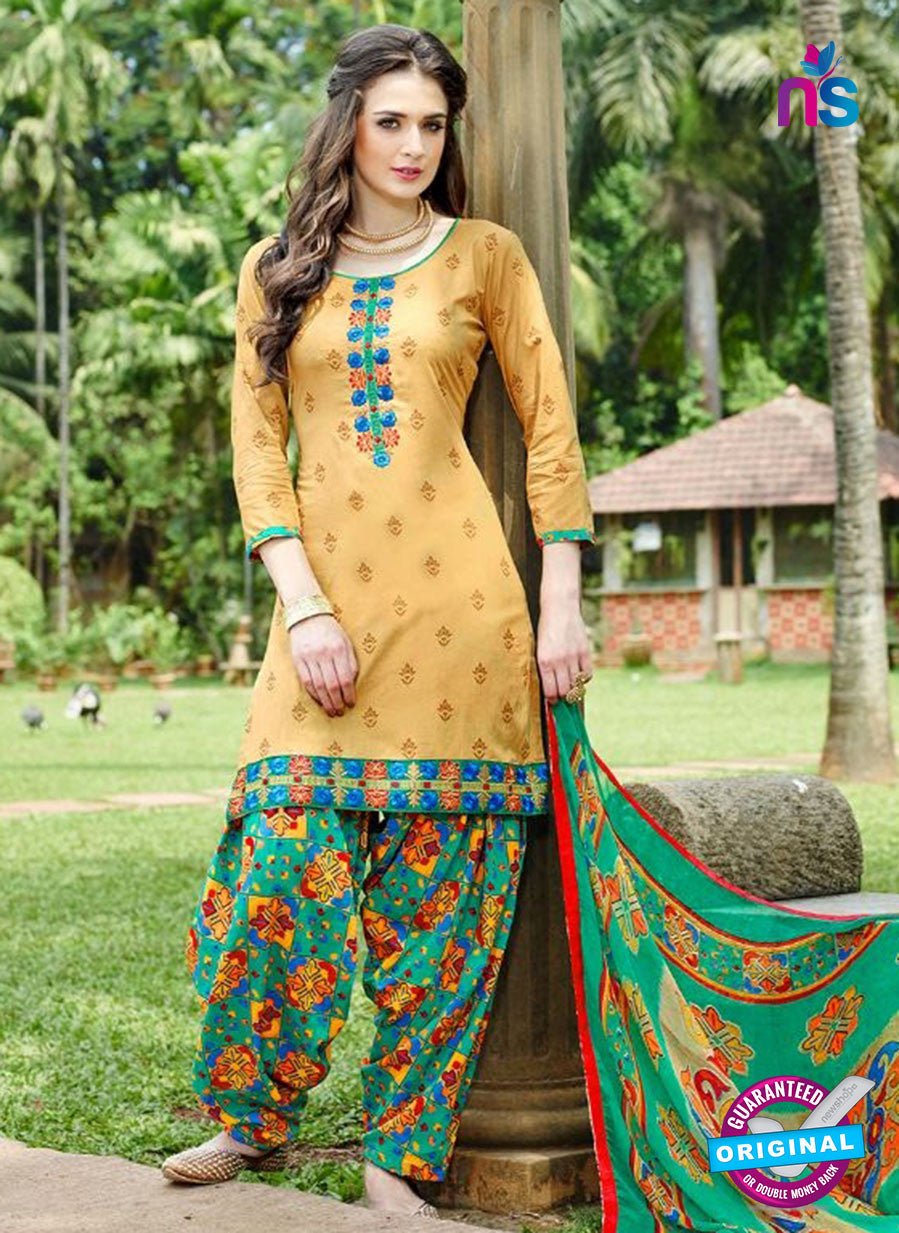 KalaKirti 9007 Beige and Green Cotton Designer Suit