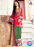 NS11100 Crimson Red and Green Pure Cotton Lawn Straight Suit
