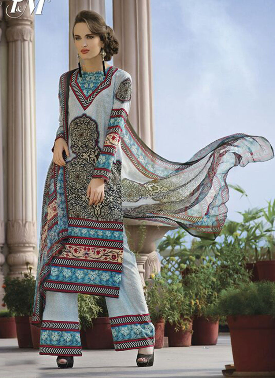 TM 9008  Multi Color Satin Cotton Designer Suit