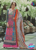 NS11077 A Pink and Multicolor Party Wear Cotton Satin Pakistani Style Indian Suit