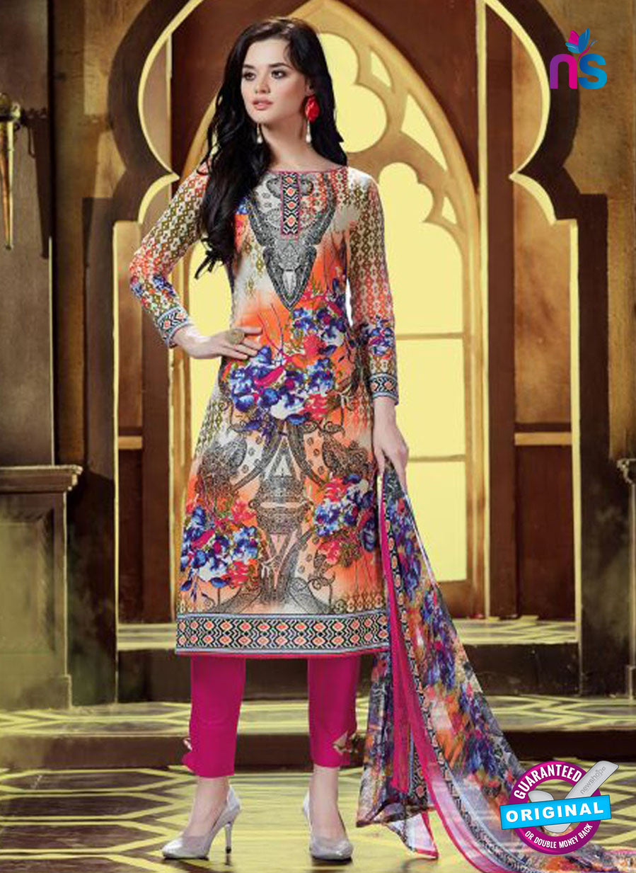 SC 12767 Multicolor and Magenta Printed Pure Cambric Pakistani Straight Suit