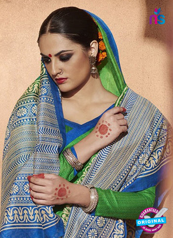 NS11823  Green and Royal Blue Bhagalpuri Silk Saree