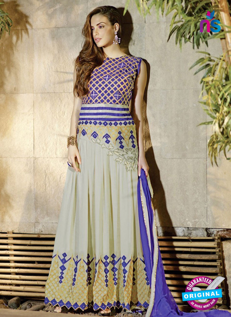 AZ 2040 Beige and Blue Embroidered Heavy Georgette Anarkali Suit