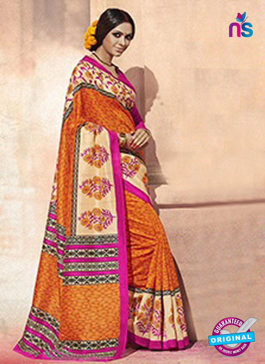 NS11824  Orange and Magenta Bhagalpuri Silk Saree