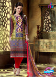 SC 12761 Multicolor and Red Printed Pure Cambric Pakistani Straight Suit