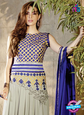 AZ 2040 Beige and Blue Embroidered Heavy Georgette Anarkali Suit - Anarkali Suits - NEW SHOP