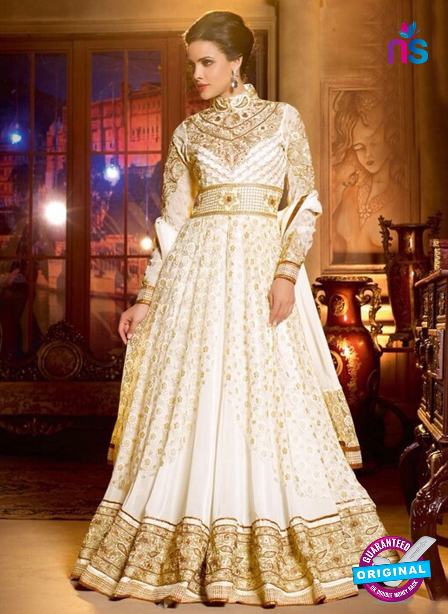 Buy Shenoa 9010 Beige Faux Georgette Anarkali Suit Online