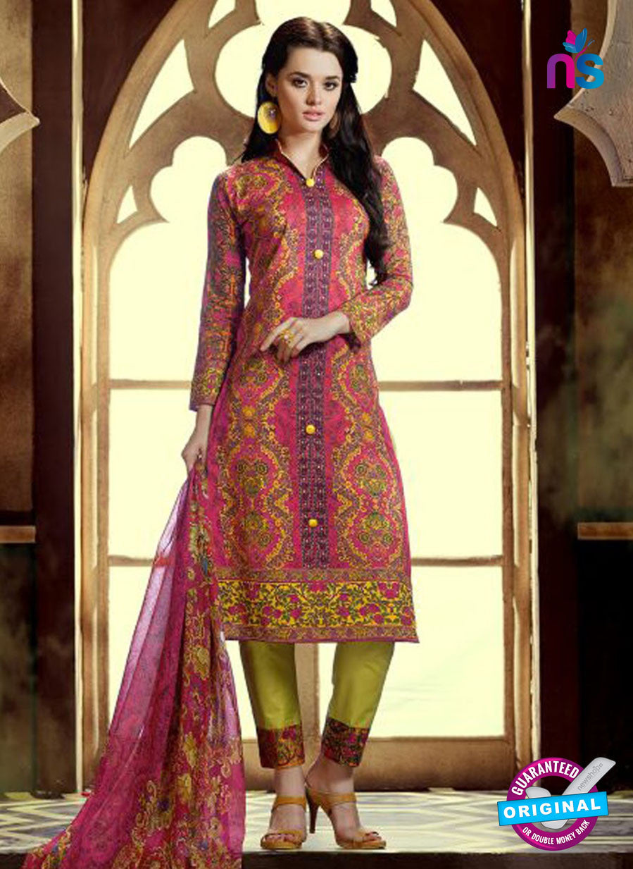 SC 12764 Pink and Green Printed Pure Cambric Pakistani Style Straight Suit