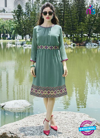 Fiona 9012 Sea Green Faux Georgette Designet Tunic