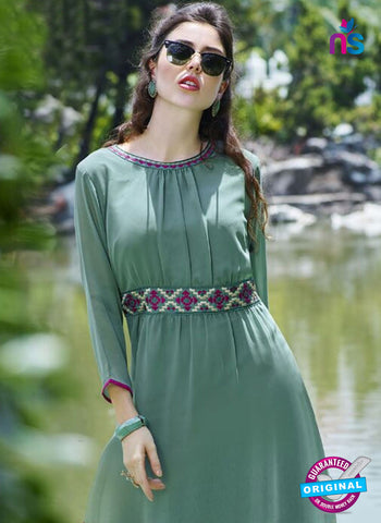 Green Faux Georgette Designet Tunic