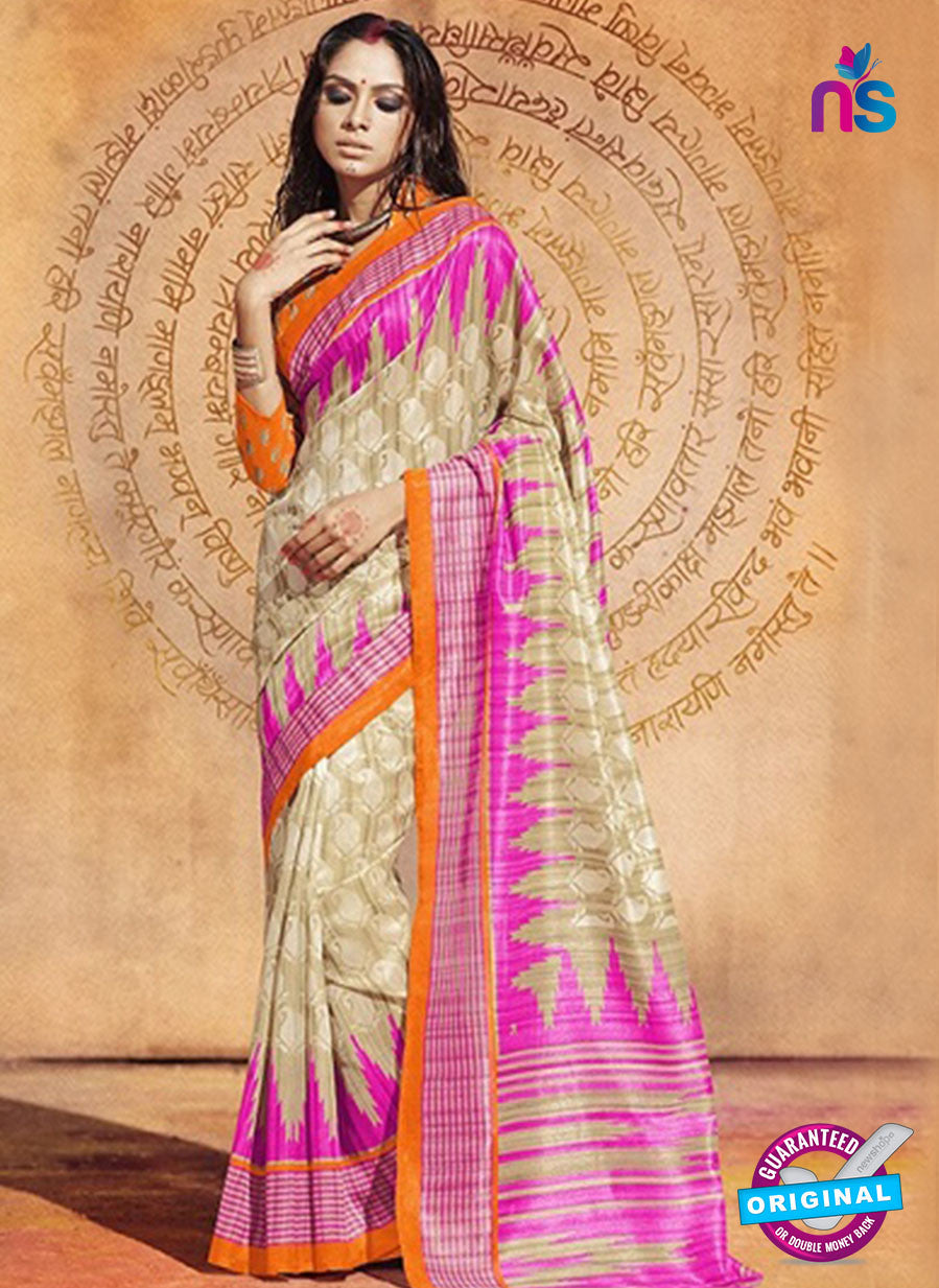 NS11826  Orange and Magenta Bhagalpuri Silk Saree