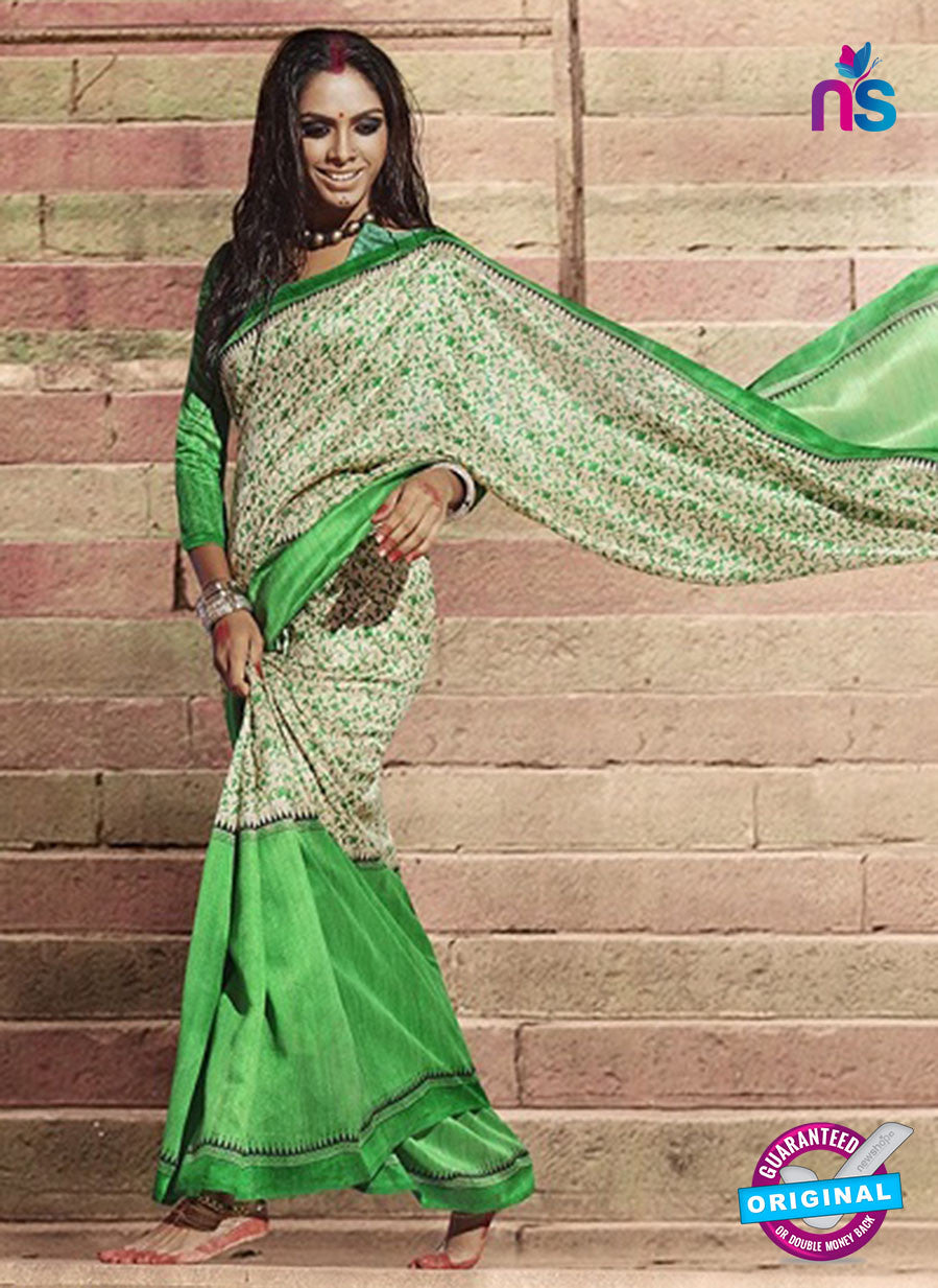 NS11828  Ivory and Green Bhagalpuri Silk Saree