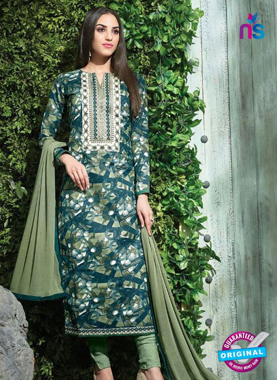 SC 12613 Blue and Green Printed Pure Cotton Satin With Work Party Wear Straight Suit