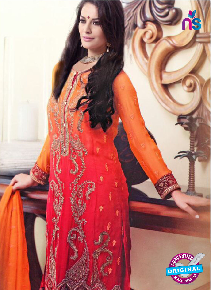 SC 13306 Orange and Red Georgette Embroidered  Designer Suit