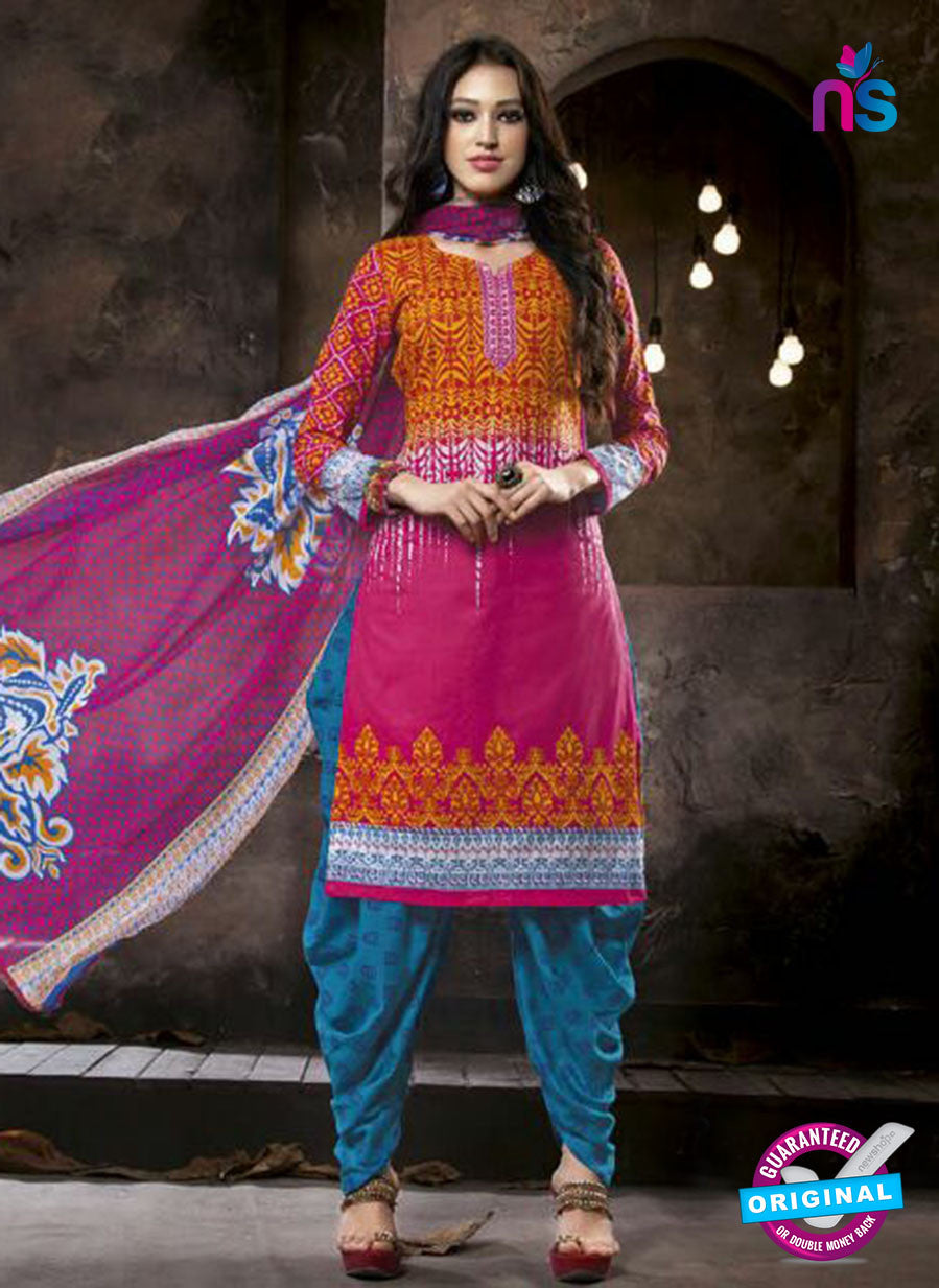 Kalakriti 902 Pink and Blue Cotton Party Wear Suit